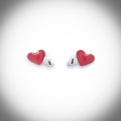 Anthurium Enamel Heart Silver Earrings