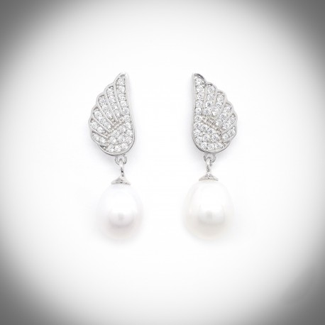 Angelica Pearl and Silver Earrings